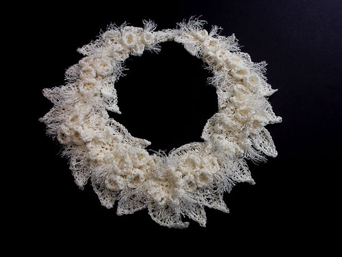crochet linen paper necklace