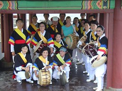 Mandy Playing the drums with traditional performers