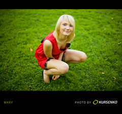 "From summer archive (""So unlikely"") (Geshpanets) Tags: red summer green girl beauty grass 50mm outdoor 5d reddress lightroom 5014 canonef50mmf14usm russiangirl"