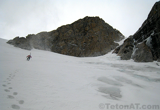 harder boots up the middle teton glacier