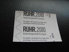 Rückseite eines EVAG-Tickets mit dem Ruhr2010-Logo