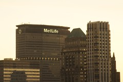 The old and new MetLife Signs above New York