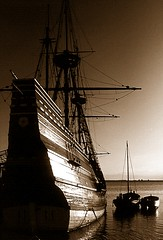 Mayflower (Heaven`s Gate (John)) Tags: sea bw usa brown white black history silhouette rock sepia america boat ship plymouth replica mayflower pilgrimfathers 10faves 5photosaday blackwhitephotos johndalkin heavensgatejohn mywinners p1f1 anawesomeshot goldstaraward