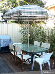 Outdoor Table & Umbrella