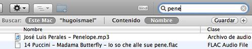 Captura de pantalla de Spotlight buscando la palabra pene en Mac OS X