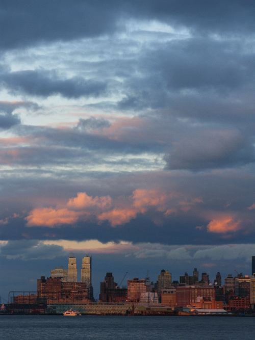 sunset on the west side of Manhattan and the Hudson River, NYC