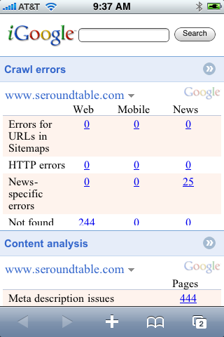 Google Webmaster Tools on iPhone