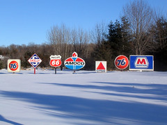 Gas station signage, Wausau Wisconsin (typographyshop) Tags: winter ford sign wisconsin vintage typography design farm marathon shell mobil gasstation ephemera signage oil americana texaco standard pure logos sinclair skelly union76 amoco citgo dx phillips66 wausau