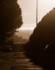Sepia Fog Rolling In (Pixel Boy128) Tags: sf sanfrancisco california ca usa building cali fog sepia work fuji bayarea newhope rollingin fogrollingin changingneighborhoods bwartaward finepixf100fd