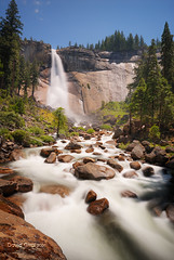 Nevada Falls, Yosemite Park | HDR/RAW (David Giral | davidgiralphoto.com) Tags: california park longexposure blue trees sky usa mist mountain mountains green water grass forest montagne trekking river landscape flow waterfall milk rocks eau stream colours unitedstates searchthebest hiking nevada tripod smooth dream merced hike rivire falls trail waterfalls valley yosemite cascades dreams dreamy colourful sierranevada paysage magical cascade milky chute dri hdr deau couleur marche verdure arcenciel hoya randonne valle sigma1020mm ruisseau nd400 misttrail nikond200 tthdr verdoyant