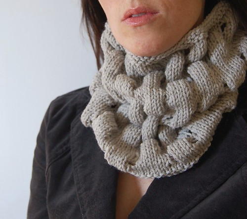ecru knit loopy cowl