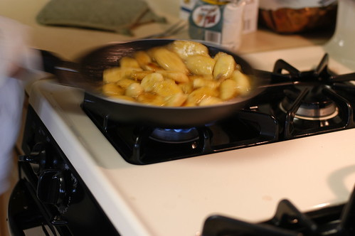 sauteeing bananas for pie