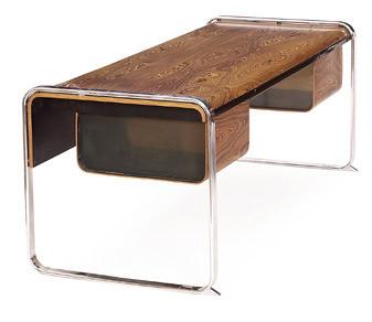 Modern wood + chrome desk: Peter Protzman for Herman Miller, c. 1970