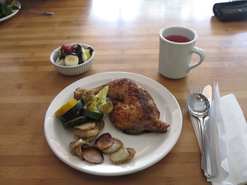 Spicy chicken, veggies, fruits with chocolate sauce, lemonade from the bistro - $6