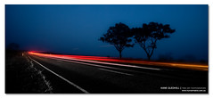 Equation of Motion. ([ Kane ]) Tags: road longexposure morning blue trees red white motion tree car fog dawn lights australia qld queensland kane warwick gledhill 50d lightsinthefog kanegledhill wwwhumanhabitscomau kanegledhillphotography