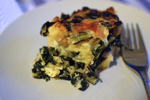 A Portion of Kale and Cheese Strata