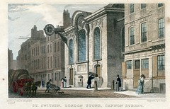 THE LONDON STONE   . .  In 1831 the historic London Stone was set into a wall of  Christopher Wren's St. Swithin Church in Cannon Street . It is pictured above as a detail within an 1831  print made by Jones & Co. (Lenton Sands) Tags: london christopherwren cannonstreet cityoflondon londonstone stswithinslane londonhistory stswithinschurch westsaxon thomashosmershepherd guildhalllibrary æthelstan jamestingle stoneofbrutus kingæthelstan lonenstane londenstane