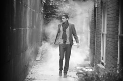 Nineteen: Catwalk Alley (MemoiresPhotographiques) Tags: street blackandwhite bw white man black male fashion blackwhite alley nikon shoes image picture gucci ysl alleyway 28 70200 catwalk blacklabel homme ralphlauren