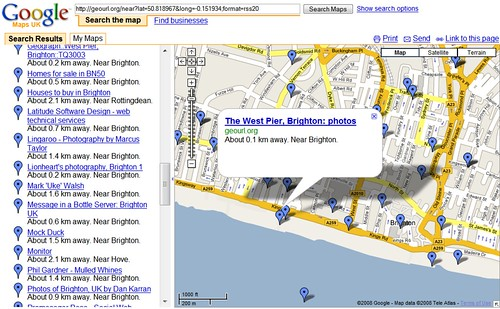 Websites Near The West Pier (GeoUrl to Google Maps)