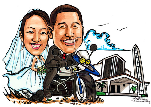 Caricatures couple church wedding A4