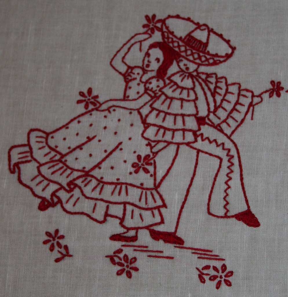 Redwork embroidery mexicana couple dancing, mom's gift