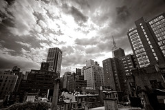 Murray Hill Rooftops (missiletest) Tags: nyc roof newyork building rooftop skyline clouds digital skyscraper canon buildings skyscrapers rooftops manhattan roofs duotone 1022mm murrayhill 30d canon30d
