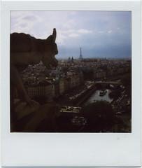paris ohlalalalalala (golfpunkgirl) Tags: paris france tower polaroid sx70 cathedral notredame gargoyle riverseine landcamera eiffletower viewofthecity blendfilm godhowiloveblend