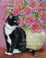 """""""Tuxedo and Roses"""" AER79 by A E Ruffing Tuxedo Cat"""