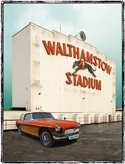 Walthamstow Greyhound Racing Stadium, London (Metropol 21) Tags: england london architecture 1930s landmark icon signage british artdeco neonsign 1933 walthamforest dogtrack letterforms walthamstowdogtrack mgcar boroughofwalthamforest unidedkingdom greyhoundracingstadium clockfacade