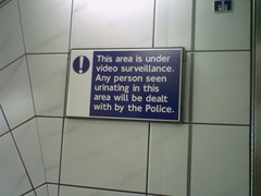 Bank weeing sign (Annie Mole) Tags: london sign tube bank signage londonunderground urinating bankstation