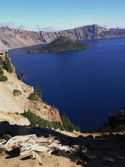 Crater Lake Morning (wanderingYew2) Tags: blue oregon forest landscape island volcano nationalpark crater caldera wizardisland cascaderange craterlakenationalpark volcaniclake mountmazama allamericanroad