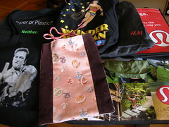 (some of) My Re-Usable Bags -one for every mood (Corinna A. Carlson) Tags: canvas wonderwoman bags johnnycash bookbag hm recycling hbc tote lululemon reusable