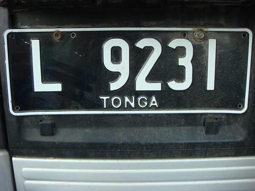 Licence plate, Tonga.