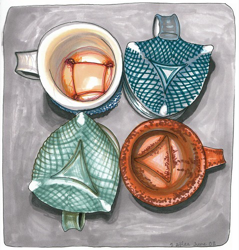 Birthe Flexner's Coffee Cups, ink sketch by Sarah Atlee, 2008
