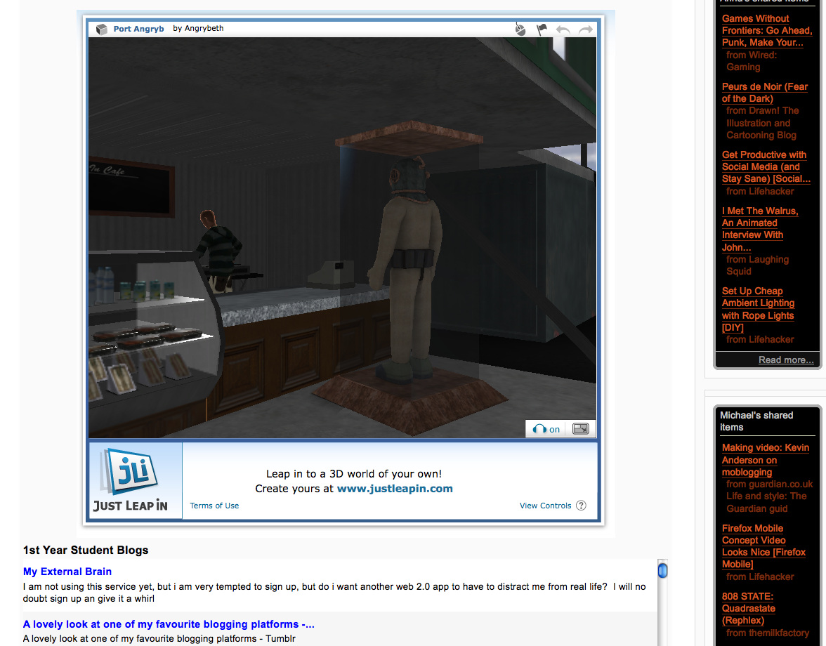 Embedding 'Just Leap in' - 3D Scene into Moodle