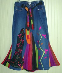 Summer Fest Skirt (brendaabdullah) Tags: pink blue green purple recycled ooak indie deconstructed reconstructed brendaabdullah afterskirt beforejeans
