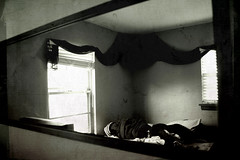 Regression, Recession, Reflection (e [d] ge.) Tags: windows light shadow bw white black reflection glass wall corner dark grey weird vanishingpoint tv crazy bed bedroom mess soft chaos shadows view angle opposite many sinister empty tube perspective smooth evil naturallight sheets pillows creepy plastic odd reflect frame messy backwards multiple layers material walls rough heavy tones rectangle creep scarry though jumble chaotic hectic groggy blindes sarri tectures kristibogel drozy e d ge comfirter tlevelision