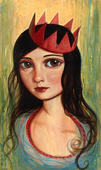 Green Portrait (verpabunny) Tags: charity original red portrait green nature painting crown kellyvivanco