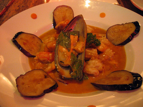 Eggplant and seafood curry