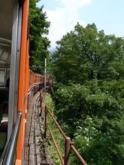 峡谷を縫って進むトロッコ電車