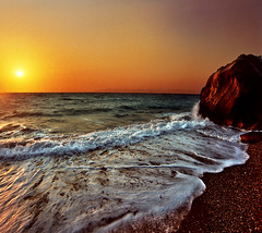 Sea lace (Katarina 2353) Tags: pictures travel sunset sea summer wallpaper vacation sky sun seascape mountains film beach nature water landscape island greek photography coast mar nikon holidays europe flickr paradise waves peace darkness image stones mosaic joy hellas wave paisaje greece harmony paysage rodos rhodes priroda katarina seafoam equilibrium rhodos grcka tjkp stefanovic 2353 rodhos pejza katarinastefanovic katarina2353