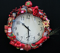 Big-Time Red Clock (Moe's Ache) Tags: clock studio mixed media recycled whimsical ache moes cappi moesache moesacheblog
