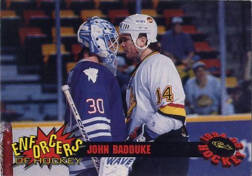 John Badduke, Hamilton Canucks, 94-95 Classic Enforcers, AHL, goon, hockey, hockey card