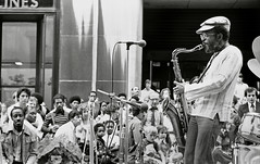 Jimmy Heath with audience at Rockerfeller Center (Tom Marcello) Tags: photography jazz saxophone jazzmusicians jimmyheath jazzplayers jazzphotos jazzphotography heathbrothers jazzphotographs tommarcello