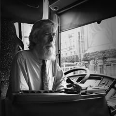 bus driver (Mik Thorvaldsen) Tags: portrait blackandwhite bw roma bus look eyes grain bn sguardo burn dodge ritratto biancoenero bruciatura micheletorsello schermatura