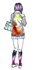 highschool girl (Nat O) Tags: color art girl illustration ink uniform drawing line
