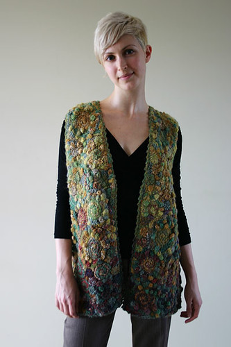 spirals & small circles freeform crochet vest