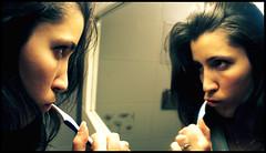 "Face a Face a la brosse a dent (Nicolas Nedialko Nojarof) Tags: portrait people woman girl tooth donna women funny femme mulher brush scenario donne miroir reflexion affiche drole brosseàdent toillets flickraward thisphotorocks ""flickraward"" nojarof"