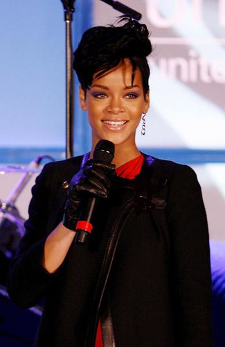 rihanna with a mic in her hand