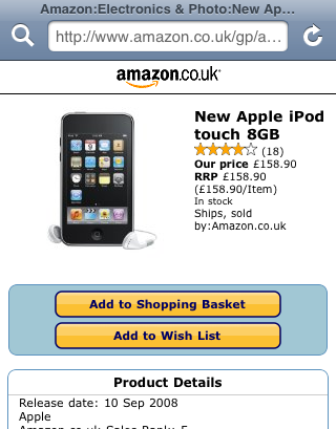 Amazon mobile product page